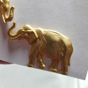Vintage Jewelry - Vintage JJ Elephant Earrings